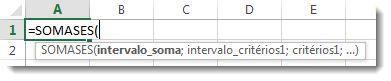 Usando o Preenchimento Automático da Fórmula para inserir a função SOMASES