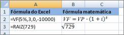As fórmulas do Excel e suas fórmulas de matemática semelhante