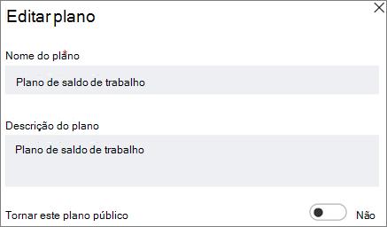 Captura de tela da caixa de diálogo do plano Editar mostrando faça este controle público de plano.