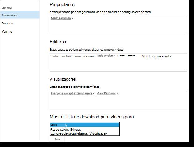 Permissões de vídeo do Office 365