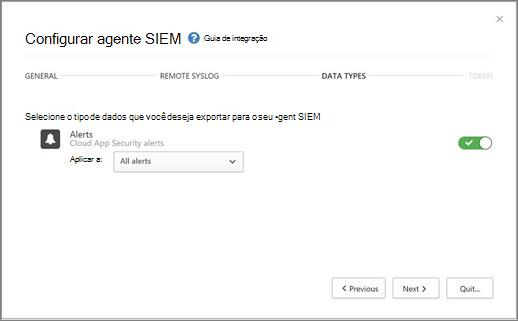 Selecione os alertas e atividades para exportar para o seu servidor SIEM.