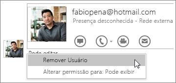 Captura de tela das opções Interromper Compartilhamento no OneNote 2016.
