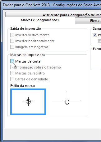 Caixa de seleção para remover marcas de corte