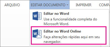 Imagem do comando Editar no Word Web App