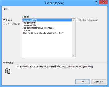 Opções de imagem na caixa de diálogo Colar especial