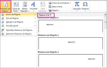 Escolha um formato de página X de Y