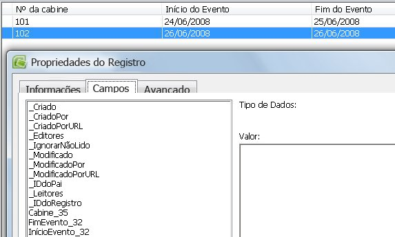 exibir nomes de campo em propriedades do registro