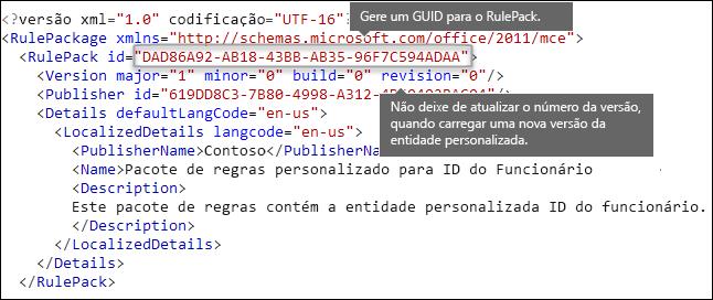 Marcação XML mostrando o elemento RulePack