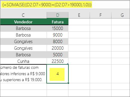 Exemplo 2: SOMA e SE aninhadas em uma fórmula