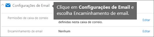 Escolha Configurações de email e, em seguida, Editar.
