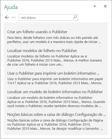 Captura de tela do painel de Ajuda do Publisher 2016 exibindo os resultados de uma pesquisa por Folheto de três dobras.