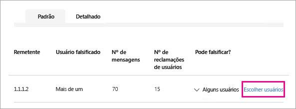 Captura de tela mostrando como escolher quais usuários para permitir que um remetente para simular