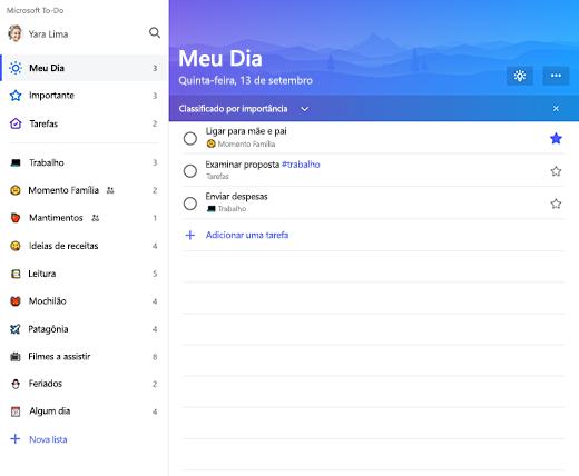 Captura de tela mostrando a barra lateral de lista e a lista Meu Dia no Microsoft To-Do