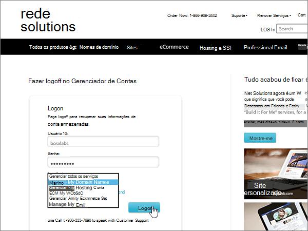 Escolha Gerenciar Meus Nomes de Domínio e entre no Network Solutions