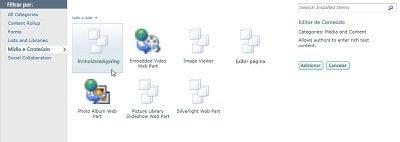 Caixa de diálogo Mais Web parts