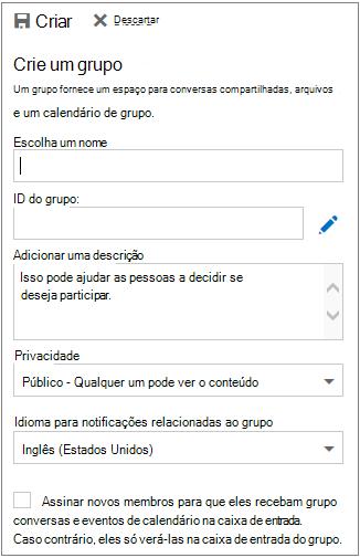 Criar um grupo no Calendário do Outlook na Web para empresas.