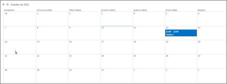 Visão de calendário