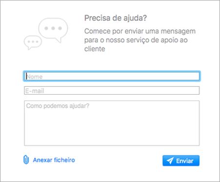 Mostra o formulário de suporte no aplicativo