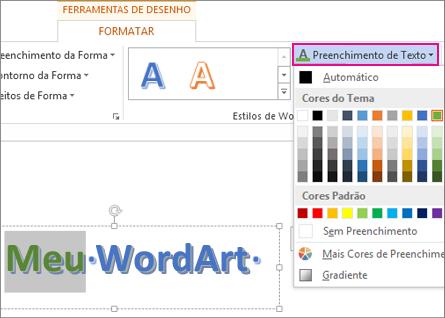 Galeria Cores de Preenchimento de Texto encontrada na guia Formatar Ferramentas de Desenho