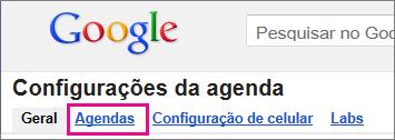Google Agenda - clique em Agendas