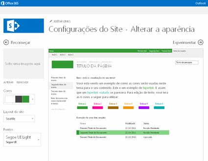 Exemplo de tela usada para alterar a fonte, cor e layout do seu site