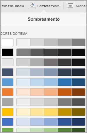 Opções de sombreamento de tabela de iPad