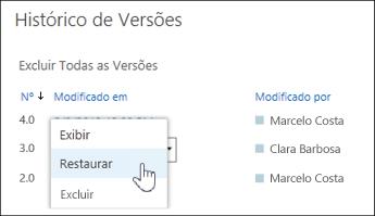 Selecione 'Restaurar' no menu suspenso para obter uma versão do documento selecionado