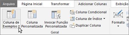 Mostra o botão Coluna de Exemplos na guia Adicionar Colunas do Editor de Consultas