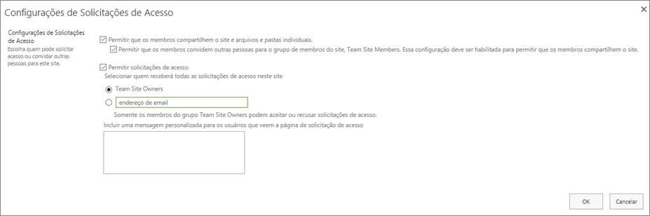 Captura de tela da caixa de diálogo Solicitações de Acesso