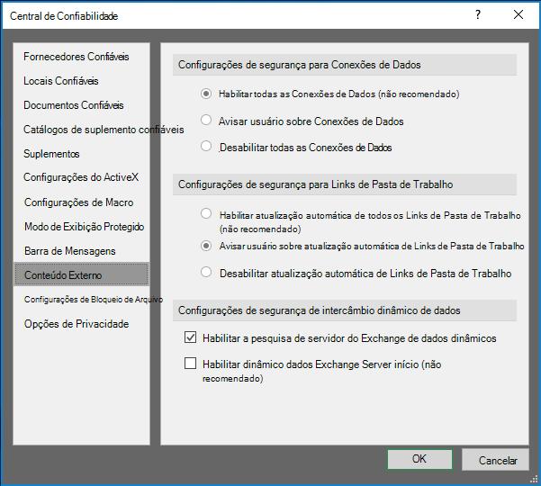 Configurações de conteúdo externo na Central de confiabilidade do Excel