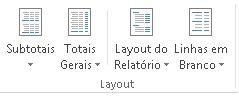 Opções de layout no grupo Layout da guia Design