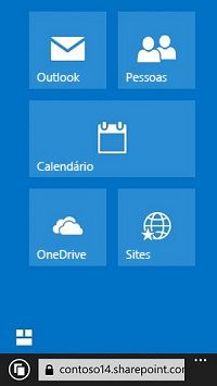 Use os blocos de navegação do Office 365 para ir para sites, bibliotecas e email