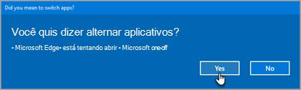 Prompt de aplicativos do Office 365 switch