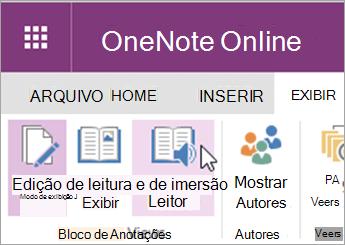 Abra ferramentas de aprendizado no OneNote Online selecionando a guia Exibir