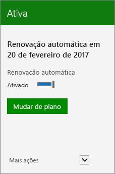 Close-up de uma Assinatura mostrando a data de renovação automática e o botão Mudar de planos.