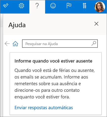 Painel de ajuda no Outlook na Web
