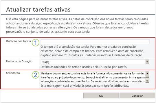 Alterar formulário de tarefas ativas