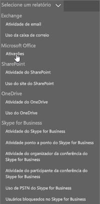 Captura de tela: Clique em Uso da caixa de correio para obter o relatório de uso da caixa de correio