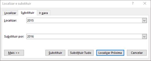 Localizar e substituir texto