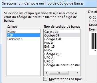 Listas para selecionar campos e tipos de código de barras