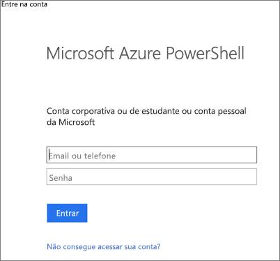 Insira suas credenciais de administrador do Azure Active Directory