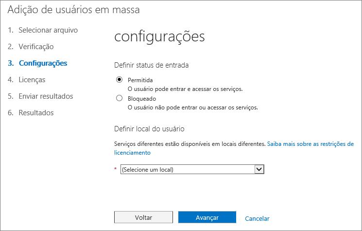 Etapa 3 do Assistente de Adição de Usuários em Massa – Configurações