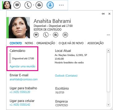 Captura de tela de contato do Lync Rápido e cartão de visita com calendário e agendar uma reunião realçado