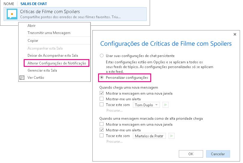 Captura de tela da seleção do menu e da janela para personalizar notificações