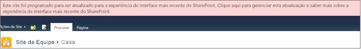 Faixa rosa dizendo que seu site está agendado para atualização automática