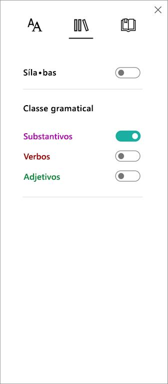 Menu Classe Gramatical na Leitura Avançada, parte das Ferramentas de Aprendizagem para OneNote.