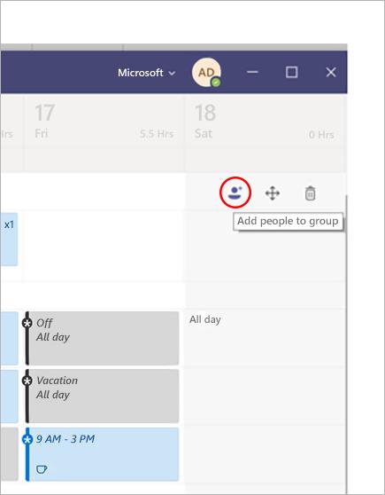 Adicionar uma pessoa a um grupo em Microsoft Teams Turnos