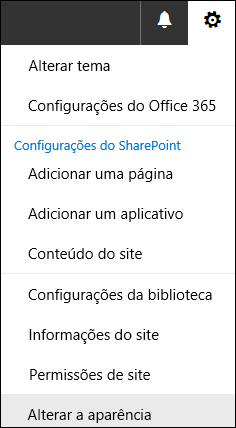 Captura de tela mostrando a opção do menu Alterar a aparência do SharePoint.