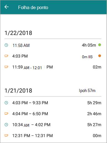 Esta é a aparência de quadro de horários de um funcionário no aplicativo móvel do StaffHub.