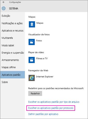 Captura de tela da configuração Definir padrões por aplicativo no Windows 10.